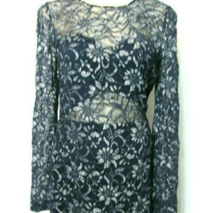 Lacy Lined Long Sleeve M Sexy Navy Blue Dress